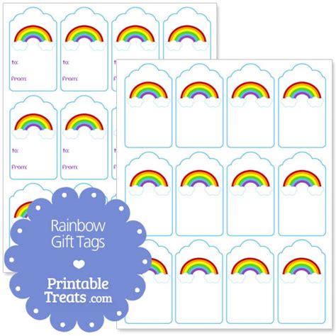 free printable rainbow name tags free printable rainbow gift tags from printabletreats com