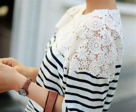 Blue Stripe S M L Blouse 26331 blouse stripes lace blue white striped shirt white