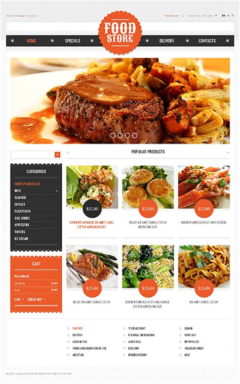 web cuisine delicious food website templates entheos