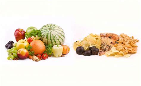vegetables vs junk food junk food vs healthy food stock image image of fresh