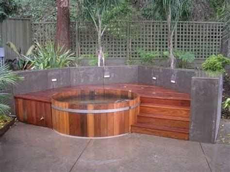 Backyard Hottub backyard patio ideas with tub landscaping