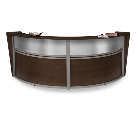 Furniture Reception Desk Unit Reception Desk In Walnut Finish With Plexi Glass And Silver Frame Contemporary