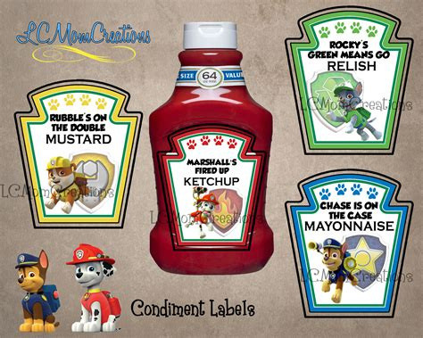 printable heinz ketchup label paw patrol condiment labels ketchup lcmomcreations