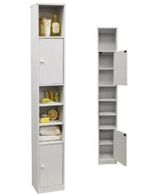 Bathroom Slimline Storage Tower Bathroom Storage Cabinet Tower Unit White Cupboard Space Saver Shelves Slim Ebay