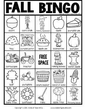 Fall BINGO by A Dab of Glue Will Do | Teachers Pay Teachers