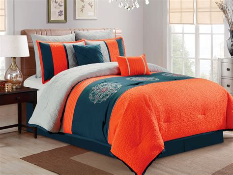 blue and orange comforter set 7 pc paisley floral medallion embroidery quilted comforter