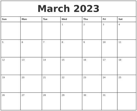 printable monthly calendar march march 2023 printable monthly calendar