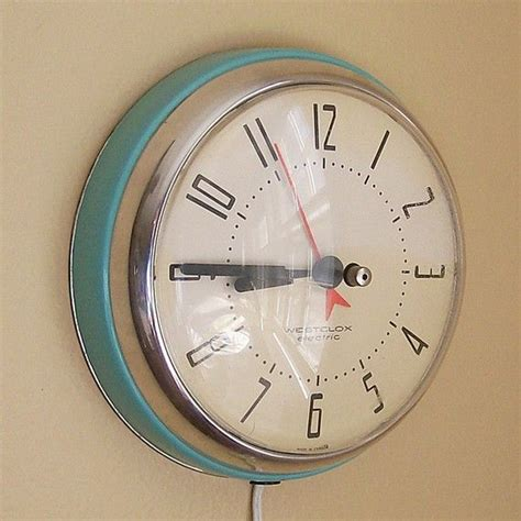 vintage kitchen clock in clock turquoise blue