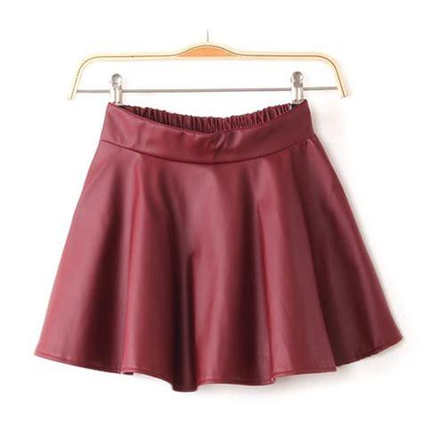 vogue retro black faux leather mini skirt high waist