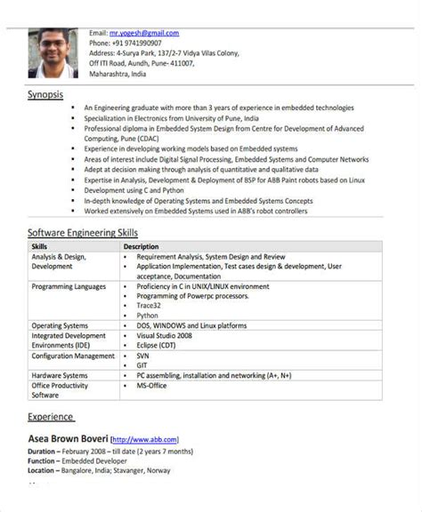 resume format for software engineer pdf 37 engineering resume exles free premium templates