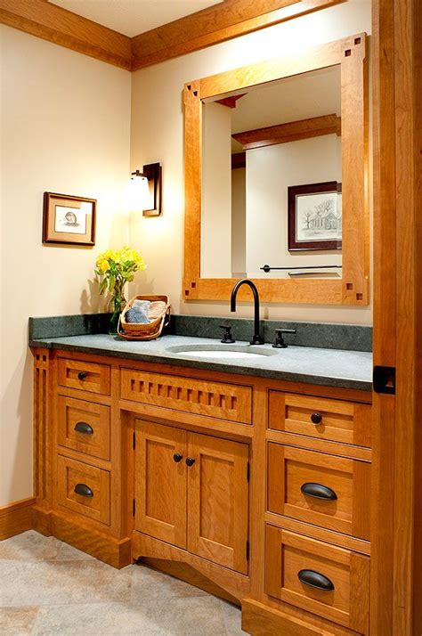 Mullet Cabinet Mission Style Main Bath Accentuated With Custom Bathroom Furniture