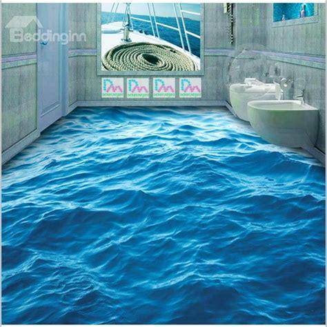 blue sea wave pattern pvc  slip waterproof eco
