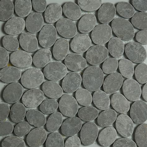 dark grey sliced stone pebble mosaic tile