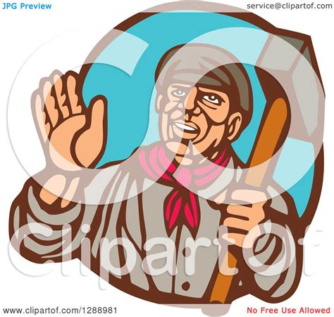 clipart of a retro woodcut clipart of a retro woodcut friendly union worker