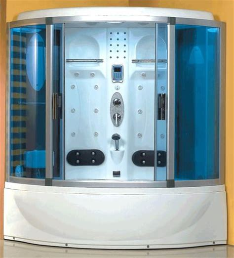 Wasauna Was 2252 Blue Glass Steam Shower 24 Jet Capacity Jet Showers Bathroom