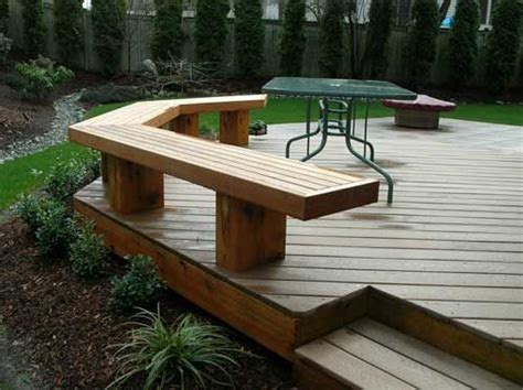 wood bench designs for decks use the bench as a railing ground level wood deck with