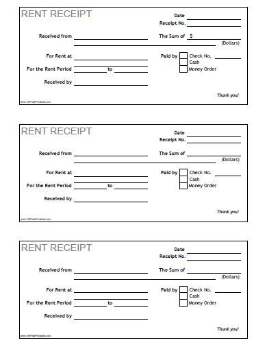free rent receipt template rent receipt free printable allfreeprintable