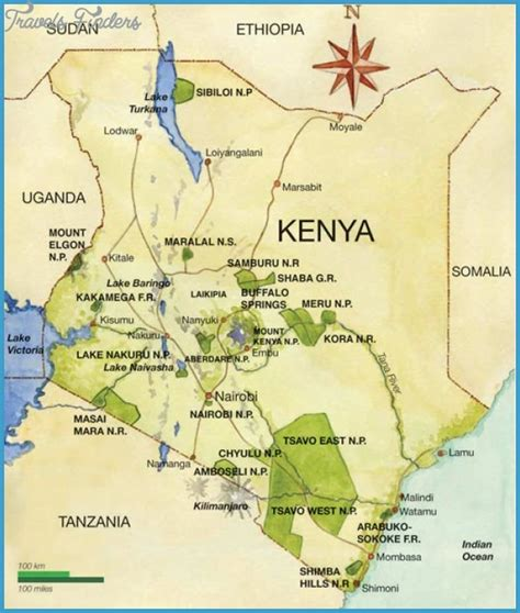 map of kenya kenya map tourist attractions travelsfinders
