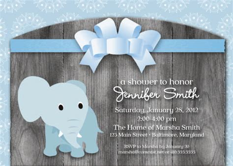 elephant theme baby shower invitation