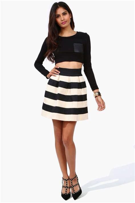 Black And White Line Skirt black white striped a line bandage skirt by honey punch