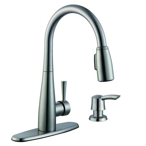 glacier bay single handle kitchen faucet glacier bay 900 series single handle pull sprayer kitchen faucet with soap dispenser in