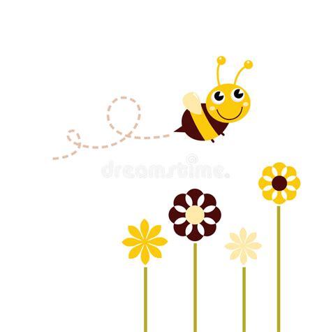 afbeelding bloemen met dier leuke vliegende bij met bloemen vector illustratie