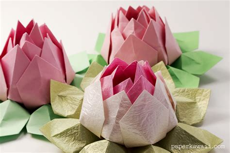 Lotus With Paper - modular origami lotus flower tutorial paper kawaii