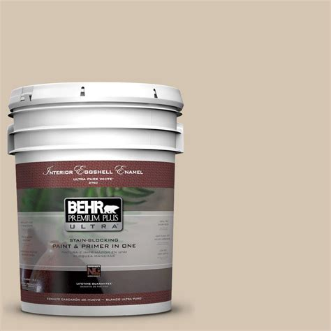 behr premium plus ultra 5 gal n300 3 casual khaki eggshell enamel interior paint 275405 the