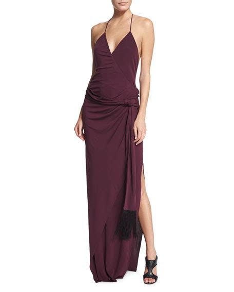 Sabrina Maxy Dress by L Agence Sabrina Halter Maxi Dress Aubergine