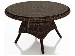 Glass Patio Table With Umbrella Hole by Forever Patio Leona Wicker 48 Round Glass Top Dining Table