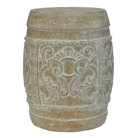 mpg 19 1 2 in h cast carved garden stool in white