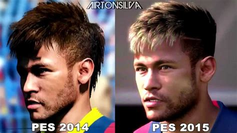 hair neymar pes 2015 name neymar face pes 2014 vs pes 2015 oficial hd youtube