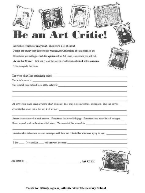 artist biography questions printable art worksheets for high school 1000 images