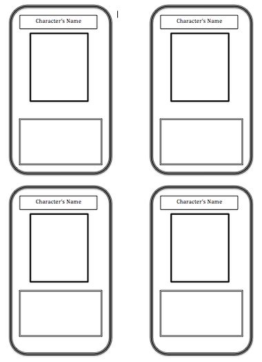 characters cards template best photos of blank trading card templates blank