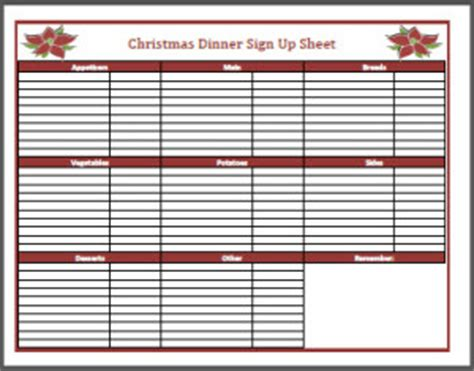 printable christmas sign up sheet dinner sign up sheet frogdiva dot