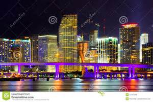 Business Cards In Miami Colorful Night View Of City Of Miami Florida Royalty Free Stock Image Image 14107236
