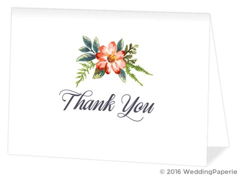 watercolor thank you card template delicate watercolor flowers wedding thank you card