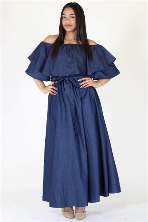 Maxi Denim Lipat 1 plus size stunning flounce neckline denim maxi dress plussizefix