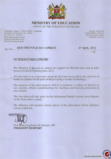 Guarantee Letter Government Kenya S Ministry Of Education Says Yes To Worldreader Worldreader