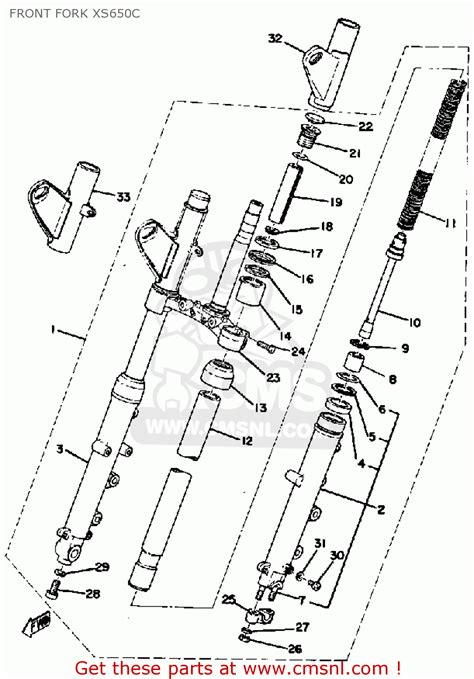 yamaha xs650 1976 usa front fork xs650c schematic partsfiche