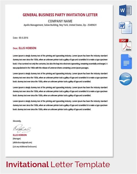 hr invitation letter template word