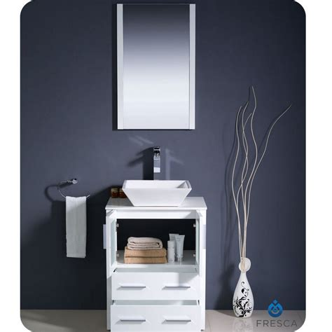 24 bathroom vanity cabinet with sink fresca torino 24 quot white modern bathroom vanity vessel sink