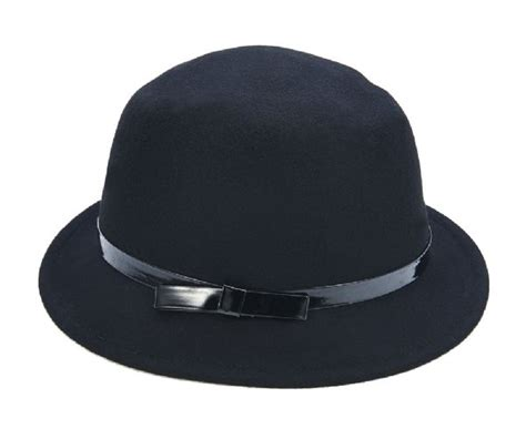 Bow Bowler Hat 58261 black felt bowler hat with bow by city