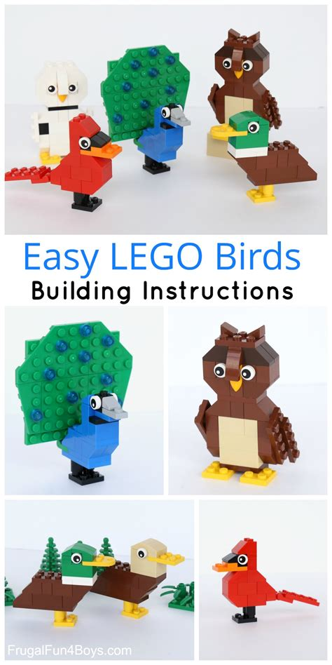 printable lego animal instructions simple brick birds building instructions
