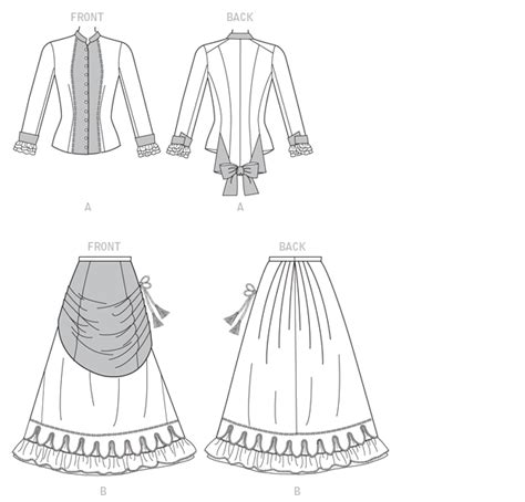 sewing pattern victorian skirt b6305 victorian top and drape front skirt sewing pattern
