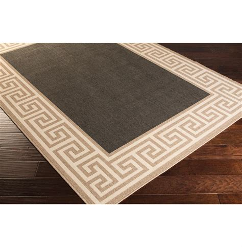 Key Outdoor Rug by Corfu Regency Key Outdoor Taupe Black Rug 3 6 Quot X5 6 Quot Kathy Kuo Home