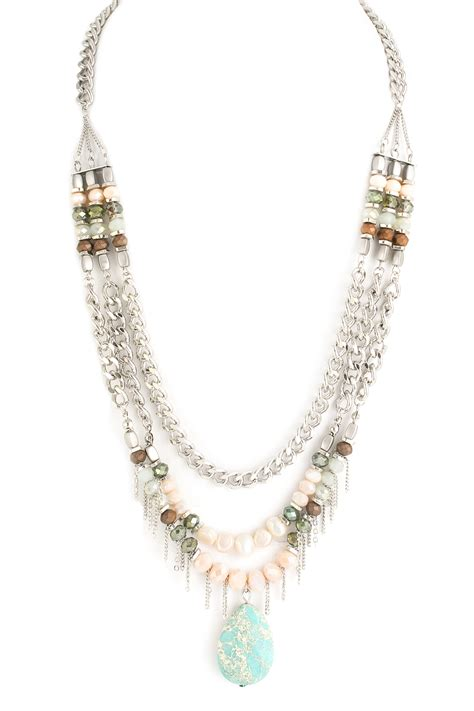 layered beaded necklace layered beaded chain tassel necklace necklaces
