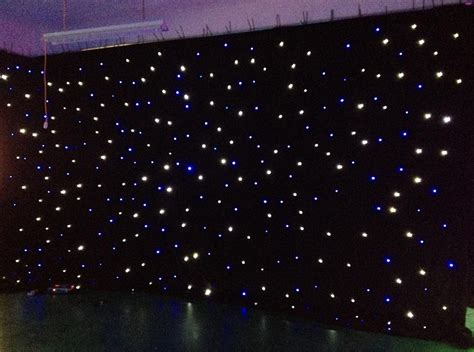 Led light effects large star curtain 4m 6m star colth stage drapes blue white color with
