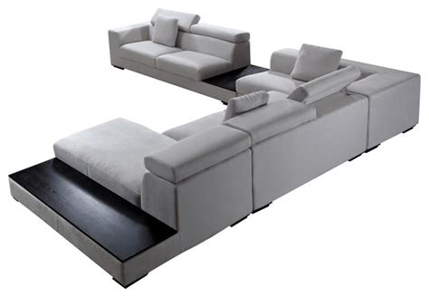 Forte Grey Microfiber Modern Sectional Contemporary Modern Microfiber Sectional Sofas