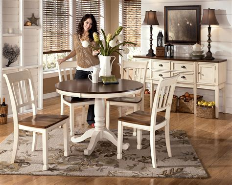 Signature design by ashley whitesburg 5 piece two tone cottage round table set furniture